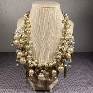 Statement necklace pearls and crystals